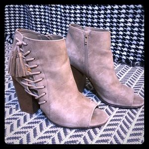 Suede open toe ankle boots with lace up detail